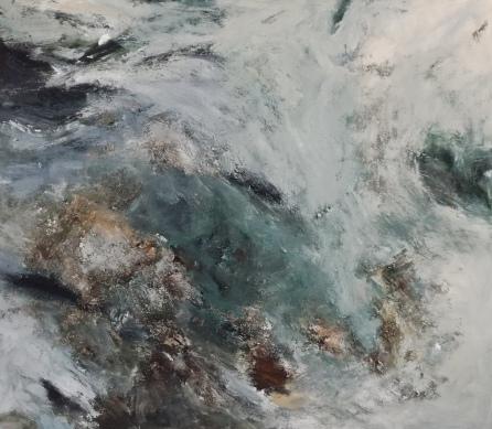 Acrylique, cendre sur toile: 94/110 cm